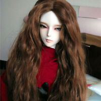 "7-8"" 1/4 BJD Brown Auburn Long Curly Wig LUTS Doll SD DZ DOD MSD Dollfie Hair AL"