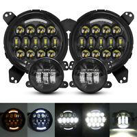 210W Round LED Halo Headlights Fog Lights Combo For Jeep Wrangler JL 2018-2021