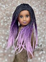 American Girl Doll Custom Wig - Braided Purple Ombré -Replacement Parts, Customs