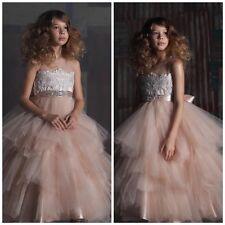 Size 6 Girls Sleeveless Rhinestone Belt Tulle Skirt Flower Girl Dress