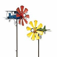 """Airplane and Bi Plane Wind Spinners & Solar Lit Yard Stakes Garden Decor 63"""""""