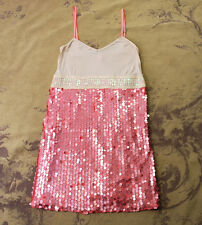ANTHROPOLOGIE FREE PEOPLE PINK BEIGE SEQUIN BOHO TUNIC MINI DRESS 8 S SMALL