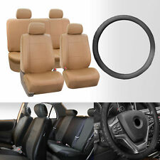 Universal PU Leather Seat Covers for Car Tan w/ Black Steering Wheel Cover