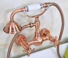 Antique Red Copper Wall Mounted Bathroom Tub Hand Held Shower Faucet Set yna336