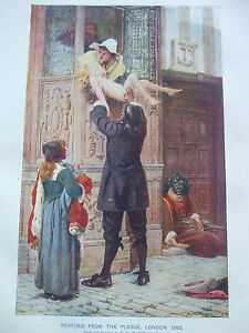 ANTIQUE PRINT C1800'S RESCUED FROM THE PLAGUE LONDON 1665 ART HISTORY PAINTING