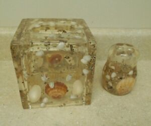 Mid Century Modern SEA SHELLS Acrylic LUCITE Tissue BOX Holder and Toothbrush