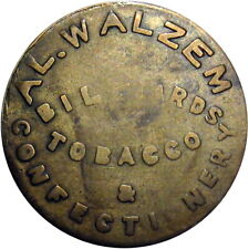 1920 Warsaw Illinois Good For Token Walzem Billiards Tobacco Confectionery