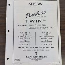 Vintage Peerless Twin Hy-Lumen Heat Filter & Cooling Unit Parts/Price List Book