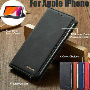 For iPhone 12 Mini Luxury Leather Flip Wallet Stand Shockproof Phone Case Cover