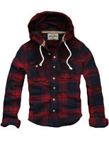Mens CALI HOLI Muscle Fit Check Hoodie Shirt  Flannel Shirt Red Navy 9831233