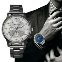 Männer Kristall Edelstahl Business Uhr Analog Quarz Armband