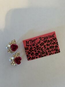 Betsey Johnson Fashion RED crystal rose pearl Rhinestone Earrings-B87009