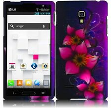 LG Optimus L9 Rubberized HARD Protector Case Snap Phone Cover Mystical Flower