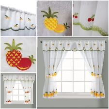 New Kitchen Window Curtain Set Rod Pocket Embroidered Attached Valance Tiebacks