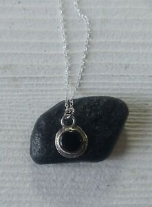 Genuine Whitby Jet and Sterling Silver Pendant