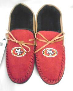 Men's San Francisco 49ers Corduroy Moccasins House Shoes Slippers