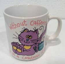 Vintage Caffeine Addiction Coffee Mug Catatonic Cat Humor Action Japan