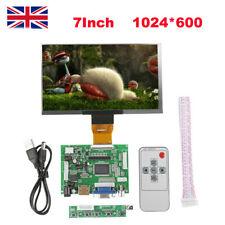 """7"""" TFT LCD Monitor Screen+Driver Board+Remote HDMI VGA 2AV for Raspberry Pi 3 LO"""
