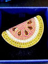 NIB Swarovski Cisme 18ct GP Multicolor Diamante Imitacion SANDÍA REBANADA