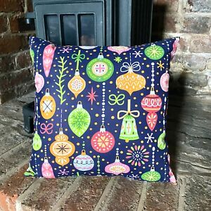 967. Christmas Baubles on Blue 100% Cotton Cushion Cover Various sizes