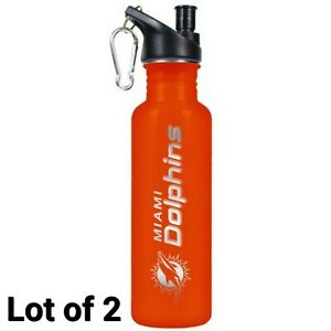 NFL Miami Dolphins Orange Stainless steel Water Bottle 22oz Lot of 2 Free Ship