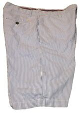 "IZOD Mens Size 33"" Blue & White Striped Bermuda Shorts 4 Pockets Belt Loops Nice"