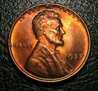 OLD US COINS UNCIRCULATED 1937 Toned Lincoln Wheat One Cent PENNY  UNC 1 C