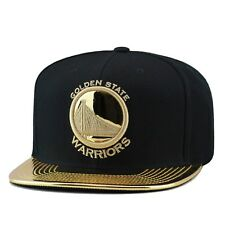 Mitchell & Ness Golden State Warriors Snapback Hat Cap BLACK/GOLD FOIL