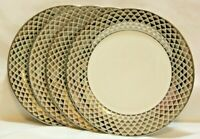 "Ciroa Luxe Lattis Metallic Silver Lattice 10 1/2"" Dinner Plates Set of Four New"