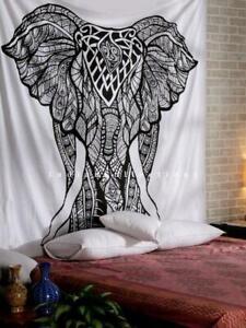 Mandala White Elephant Print Indian Wall-Hanging Decor Boho Queen-Size Bedspread