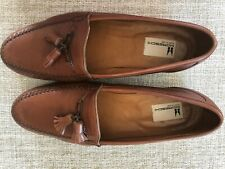 MORESCHI Brown Leather Tassel Loafers 10 Italian Preowned