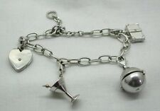 Unusual Vintage Lovely Silver Charm Bracelet With 4 Diamond Set Charms