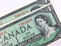 1954 Canada 1 Dollar Consecutive Uncirculated DI Lawson Bouey Banknote T893