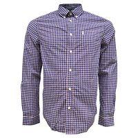 Ben Sherman Men's Cotton Plaid-Paisley Gingham Overprint Navy Button Down Shirt