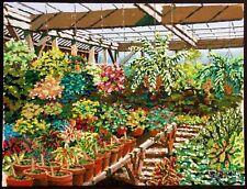 "Joel M Roman ""Half Moon Bay Nursery"" Original Gouache Painting greenhouse 77 OBO"