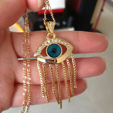 Turkish Evil Eye Necklace Tassel 18K Gold Muslim Arabic Kabbalah Jewish Greek