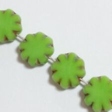 6pcs Lime Green Czech Glass Flower Beads 9mm Table Cut Bohemian Jewellery GB44