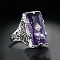 Huge Princess Cut 5.2CT Amethyst 925 Silver Women Ring Jewelry Engagement Sz6-10