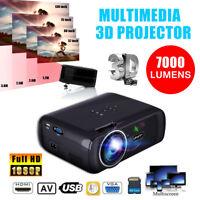 Portable 7000Lm HD 1080P 3D LED VidéoProjecteur Multimédia Home Cinéma USB HDMI