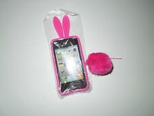 NIP 2pc. Bright Pink Bunny iPhone Cover w/Suction Cotton Tail 4G/4S
