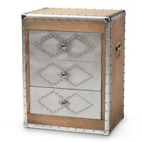 French Industrial Brown Wood And Silver Metal 3-Drawer Accent Chest