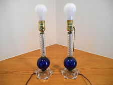 Pair DEPRESSION ERA DECO BLUE COBALT BALL & CLEAR SPIRAL STEM GLASS TABLE LAMPS