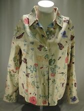 Womens Take Two Clothing Co Yellow Denim Jacket Flowers Butterflies Lady Bugs L