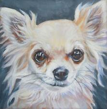 "CHIHUAHUA dog portrait art canvas PRINT of LAShepard painting LSHEP 8X8"""