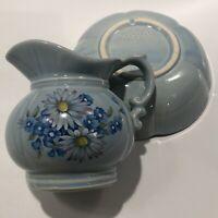 Vintage McCoy Pottery Pitcher & Bowl  Basin #7528 Powder Blue Floral Flowers USA