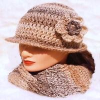 CROCHETED LADIES CLOCHE HAT festival hippy vintage cowl scarf gloves cream set 9