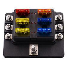 6 Circuit ATO Fuse Block LED Indicator  Blade Fuse Box Holder universal Auto Car