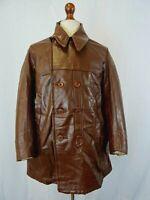 Vintage 1950's Leather French Workwear Chore Jacket Coat 42R LD135