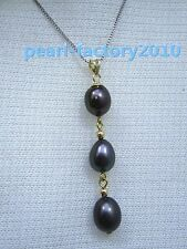 BLACK AAA 11X8 mm natural 14k pearl  south China sea pendant necklace