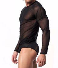 Sexy Men's Mesh Sheer T-shirts Visible Transparent Black Tees Tops Long Sleeve